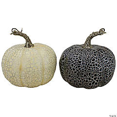 Northlight Set of 2 Black and Beige Fall Harvest Tabletop Pumpkins With a Brown Stem 5