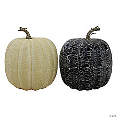 Northlight Set of 2 Black and Beige Fall Harvest Tabletop Pumpkins With a Brown Stem 7
