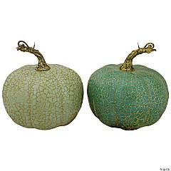Northlight Set of 2 Green Fall Harvest Tabletop Pumpkins 5