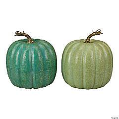 Northlight Set of 2 Green Glittered Fall Harvest Tabletop Pumpkins 7