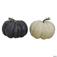 Northlight Set of 2 White and Black Fall Harvest Tabletop Pumpkins 7