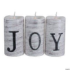 Northlight - Set of 3 Battery Operated JOY Christmas LED Flame-Less Candles 6