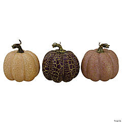 Northlight Set of 3 Brown and Purple Fall Harvest Tabletop Pumpkins 4