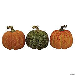 Northlight Set of 3 Orange and Green Artificial Fall Harvest Pumpkins 4