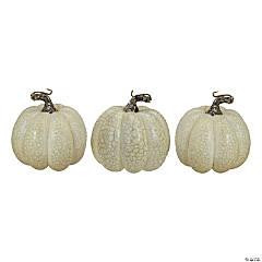 Northlight Set of 3 White Artificial Fall Harvest Pumpkins 4