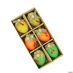 Northlight Set of 6 Green and Yellow Burlap Spring Easter Egg Ornaments 2.25