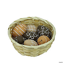 Northlight Set of 7 Brown Natural Tone Painted Design Easter Egg Ornaments 2.25