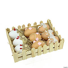 Northlight Set of 9 White and Brown Easter Egg Ornaments 2.25