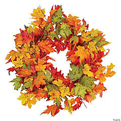 Northlight Yellow and Orange Foliage Fall Harvest Artificial Wreath - 22-Inch  Unlit