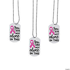 Not Alone Pink Ribbon Dog Tag Necklaces