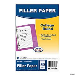 "Notebook Filler Paper, College Ruled, 5.5"" x 8.5"", 50 Sheets Per Pack, Set of 12 Packs"