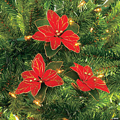 Nylon And Glitter Poinsettia Christmas Ornaments