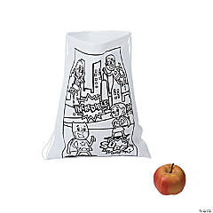 Nylon Color Your Own Superhero Drawstring Bags