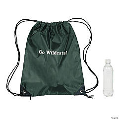Nylon Forest Green Personalized Drawstring Backpacks