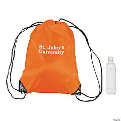 Nylon Personalized Orange Drawstring Bags