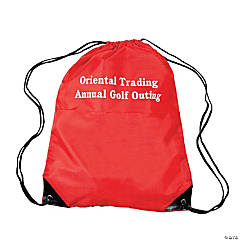 Nylon Personalized Red Drawstring Bags