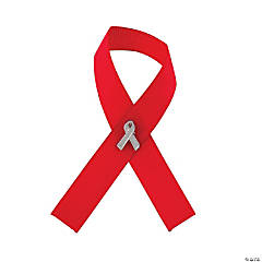 Nylon Red Awareness Ribbon with Ribbon Pins