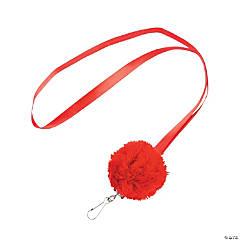 Nylon Red Pom-Pom Lanyards