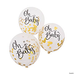 Oh Baby Confetti-Filled Latex Balloons