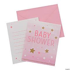 One Little Star Girl Baby Shower Invitations - 8 Pc.