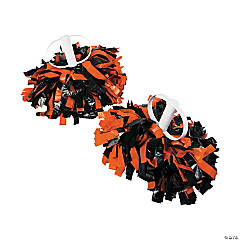 Orange & Black Spirit Show Pom-Poms