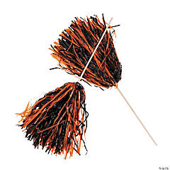 Orange & Black Two-Tone Spirit Cheer Pom-Poms - 24 Pc.