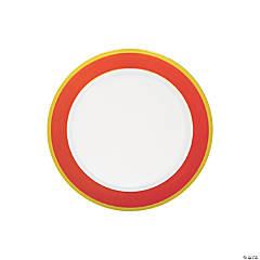 Orange & White Premium Plastic Dessert Plates with Gold Border