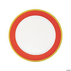 Orange & White Premium Plastic Dinner Plates with Gold Border