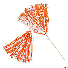 Orange & White Two-Tone Spirit Cheer Pom-Poms - 24 Pc.