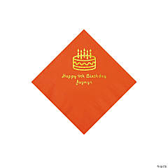 Orange Birthday Cake Personalized Napkins with Gold Foil - Beverage