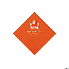 Orange Birthday Cake Personalized Napkins with Silver Foil - Beverage