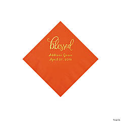 Orange Blessed Personalized Napkins with Gold Foil - Beverage