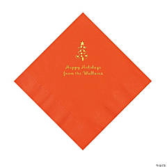 Orange Christmas Tree Personalized Napkins with Gold Foil – Luncheon
