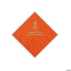 Orange Christmas Tree Personalized Napkins with Silver Foil – Beverage