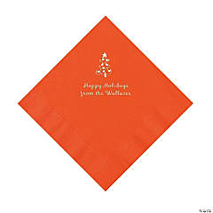 Orange Christmas Tree Personalized Napkins with Silver Foil – Luncheon