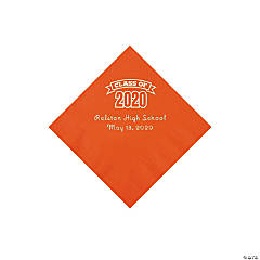 Orange Class of 2020 Personalized Napkins with Silver Foil - Beverage