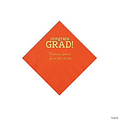 Orange Congrats Grad Personalized Napkins with Gold Foil - Beverage