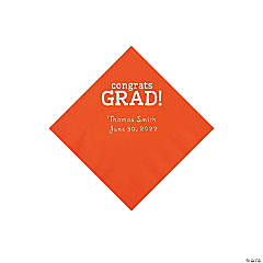 Orange Congrats Grad Personalized Napkins with Silver Foil - Beverage