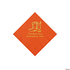 Orange Cowboy Boots Personalized Napkins with Gold Foil - Beverage