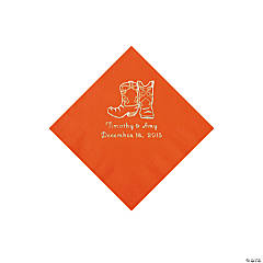 Orange Cowboy Boots Personalized Napkins with Silver Foil - Beverage