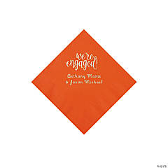 Orange Engaged Personalized Napkins with Silver Foil - Beverage