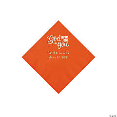 Orange God Gave Me You Personalized Napkins with Silver Foil - Beverage