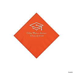 Orange Grad Mortarboard Personalized Napkins with Silver Foil – Beverage