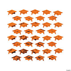 Orange Graduation Cap Confetti
