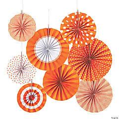 Orange Hanging Paper Fan Assortment