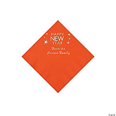 Orange Happy New Year Personalized Napkins with Silver Foil - Beverage