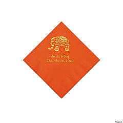 Orange Indian Wedding Personalized Napkins with Gold Foil - Beverage