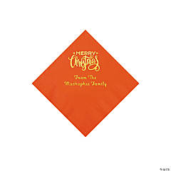Orange Merry Christmas Personalized Napkins with Gold Foil - Beverage