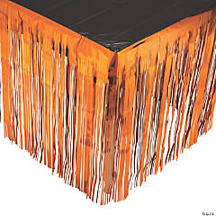 Orange Metallic Fringe Plastic Table Skirt