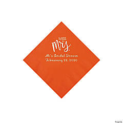 Orange Miss to Mrs. Personalized Napkins with Silver Foil - Beverage
